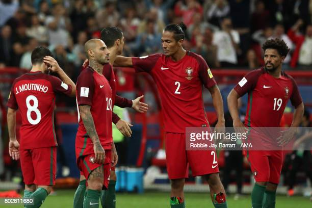 Ricardo Quaresma of Portugal is consoled by Bruno Alves after a penalty shootout during the FIFA Confederations Cup Russia 2017 SemiFinal match...