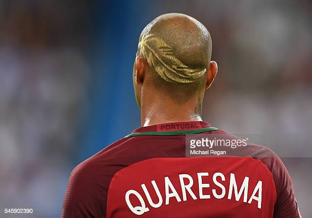 Ricardo Quaresma of Portugal is seen with his haircut with a design shaved into it during the UEFA EURO 2016 Final match between Portugal and France...