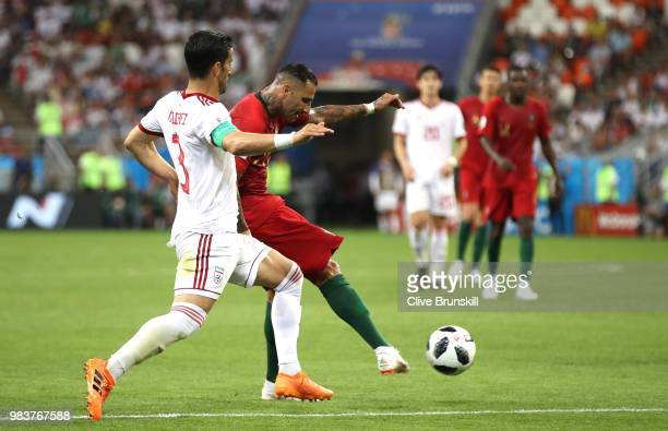Ricardo Quaresma of Portugal scores his sides opening goal during the 2018 FIFA World Cup Russia group B match between Iran and Portugal at Mordovia...