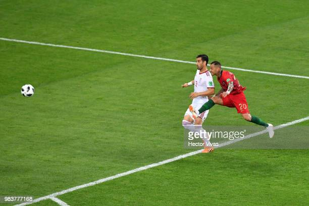 Ricardo Quaresma of Portugal scores his team's first goal during the 2018 FIFA World Cup Russia group B match between Iran and Portugal at Mordovia...