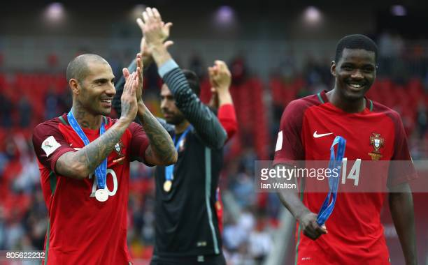 Ricardo Quaresma of Portugal shows appreciation to the fans as he speaks to William Carvalho of Portugal after the FIFA Confederations Cup Russia...