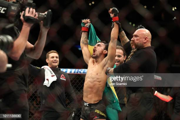 Ricardo Ramos celebrates his bantamweight bout win over Kyung Ho Kang during UFC 227 at Staples Center on August 4 2018 in Los Angeles United States