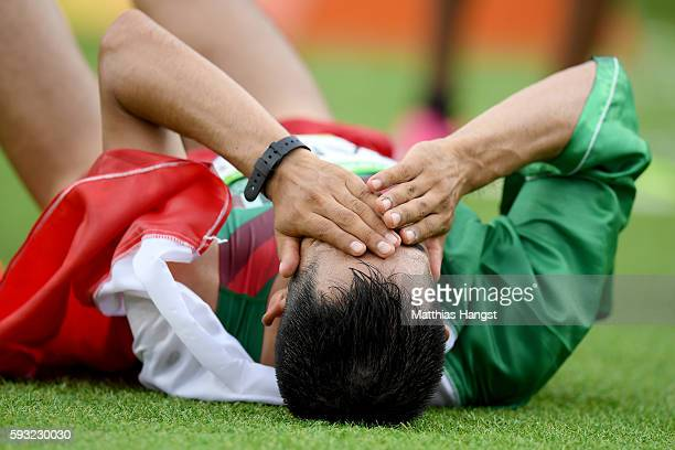 Ricardo Ramos of Mexico reacts after the Men's Marathon on Day 16 of the Rio 2016 Olympic Games at Sambodromo on August 21 2016 in Rio de Janeiro...