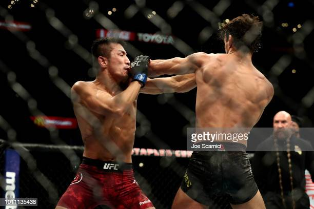 Ricardo Ramos punches Kyung Ho Kang in the third round in the bantamweight bout during UFC 227 at Staples Center on August 4 2018 in Los Angeles...