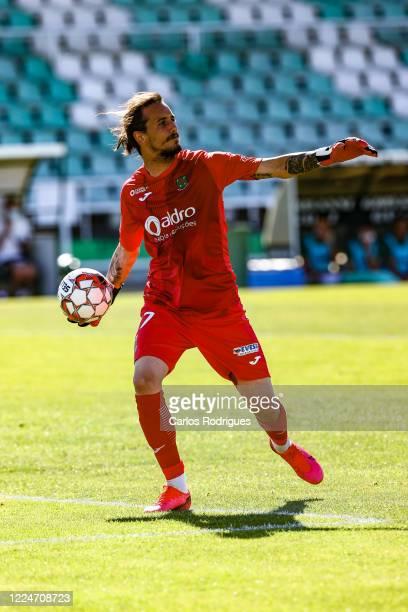 Ricardo Ribeiro of Pacos de Ferreira FC returns the ball during the Liga NOS match between Vitoria FC and Pacos de Ferreira at Estadio do Bonfimon...