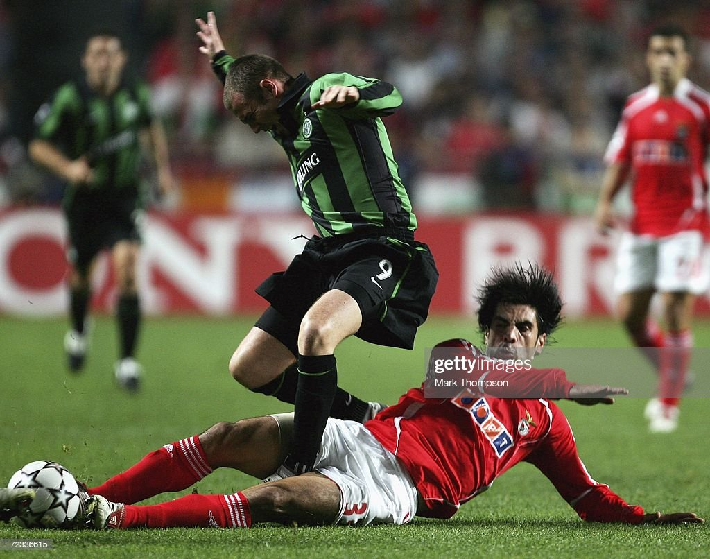 Ricardo Rocha of Benfica tangles with Kenny Miller of Celtic during the UEFA Champions League group A match between Benfica and Celtic at the Estadio da Luz on November 1, 2006 in Lisbon, Portugal.