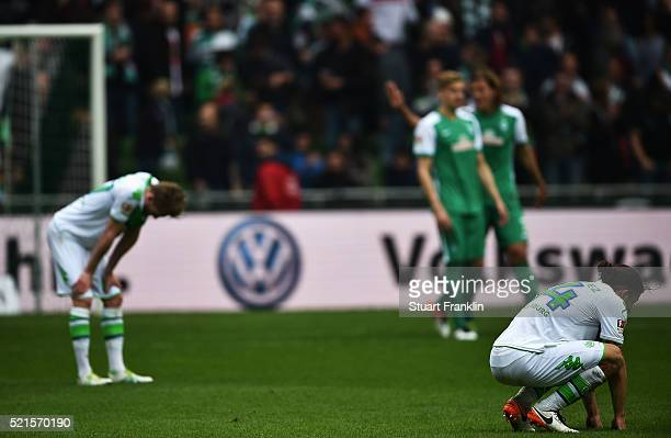 Ricardo Rodríguez of Wolfsburg looks dejected during the Bundesliga match between Werder Bremen and VfL Wolfsburg at Weserstadion on April 16 2016 in...