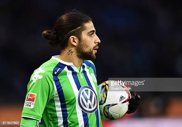 Ricardo Rodríguez of Wolfsburg looks on during the Bundesliga match between Hertha BSC and VfL Wolfsburg at Olympiastadion on February 20 2016 in...