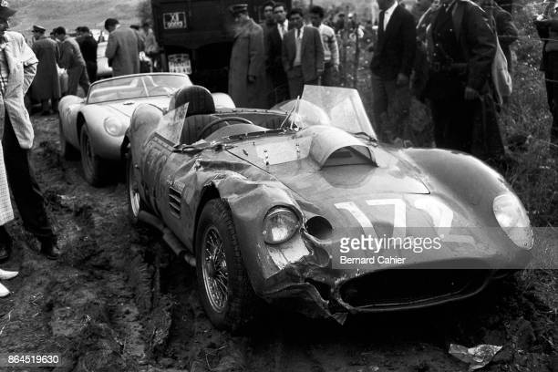 Ricardo Rodriguez Ferrari Dino 196S Targa Florio Sicily 05 August 1960 Ricardo Rodriguez' Ferrari Dino 196S after an accident during practice for the...