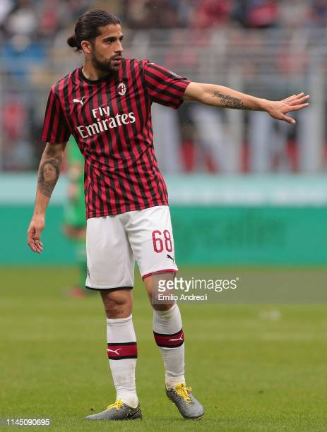 Ricardo Rodriguez of AC Milan gestures during the Serie A match between AC Milan and Frosinone Calcio at Stadio Giuseppe Meazza on May 19 2019 in...