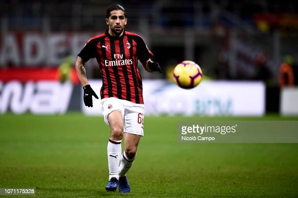 Ricardo Rodriguez of AC Milan in action during the Serie A football match between AC Milan and Torino FC The match ended in a 00 tie