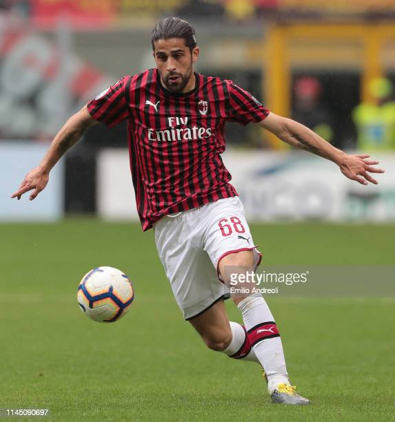 Ricardo Rodriguez of AC Milan in action during the Serie A match between AC Milan and Frosinone Calcio at Stadio Giuseppe Meazza on May 19 2019 in...