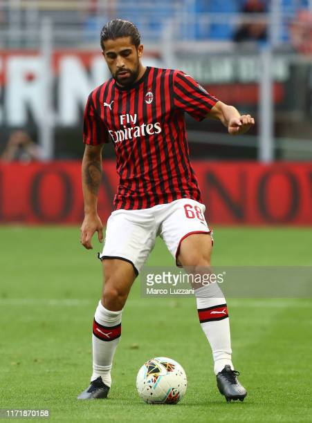 Ricardo Rodriguez of AC Milan in action during the Serie A match between AC Milan and Brescia Calcio at Stadio Giuseppe Meazza on September 1 2019 in...