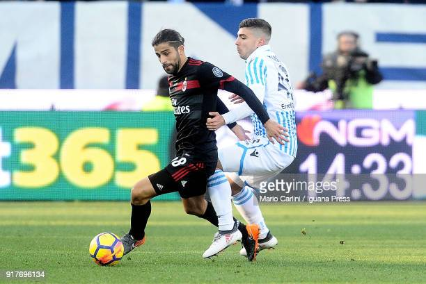 Ricardo Rodriguez of AC Milan in action during the serie A match between Spal and AC Milan at Stadio Paolo Mazza on February 10 2018 in Ferrara Italy