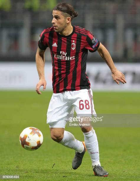 Ricardo Rodriguez of AC Milan in action during UEFA Europa League Round of 16 match between AC Milan and Arsenal at Stadio Giuseppe Meazza on March 8...