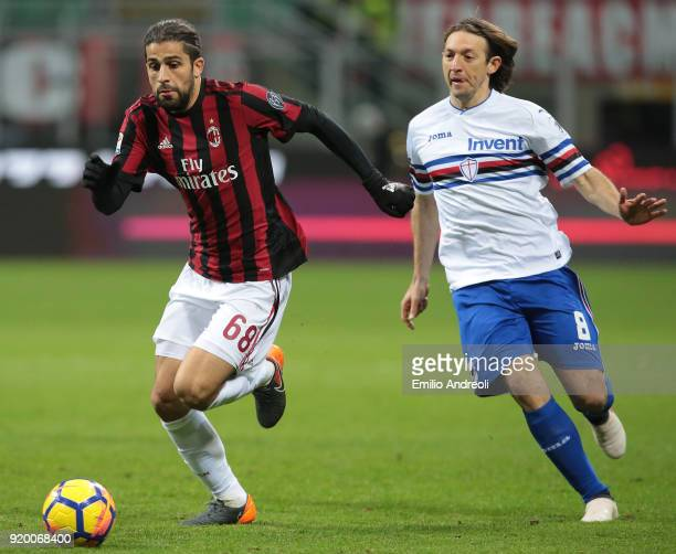 Ricardo Rodriguez of AC Milan is challenged by Edgar Barreto of UC Sampdoria during the serie A match between AC Milan and UC Sampdoria at Stadio...