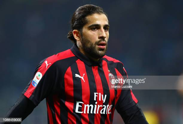 Ricardo Rodriguez of AC Milan looks on during the Serie A match between AC Milan and SPAL at Stadio Giuseppe Meazza on December 29 2018 in Milan Italy