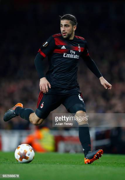 Ricardo Rodriguez of Milan in action during the UEFA Europa League Round of 16 match between Arsenal and AC Milan at Emirates Stadium on March 15...