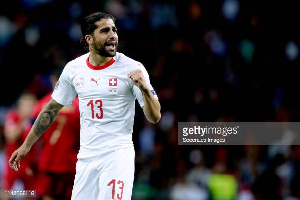 Ricardo Rodriguez of Switzerland celebrates 11 during the UEFA Nations league match between Portugal v Switzerland at the Estadio Dragao on June 5...