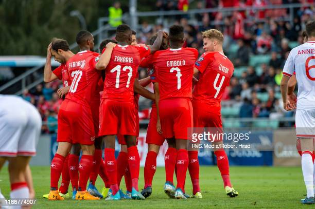 Ricardo Rodriguez of Switzerland celebrates his gaol with teammates during the UEFA Euro 2020 qualifier match between Switzerland and Gibraltar on...