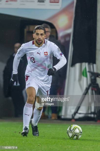 Ricardo Rodriguez of Switzerland controls the ball during the UEFA Euro 2020 Qualifier between Switzerland and Georgia on November 15 2019 in St...