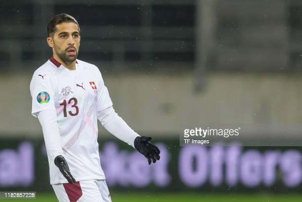 Ricardo Rodriguez of Switzerland gestures during the UEFA Euro 2020 Qualifier between Switzerland and Georgia on November 15 2019 in St Gallen...