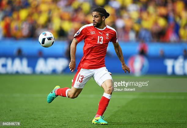 Ricardo Rodriguez of Switzerland in action during the UEFA EURO 2016 Group A match between Romania and Switzerland at Parc des Princes on June 15...