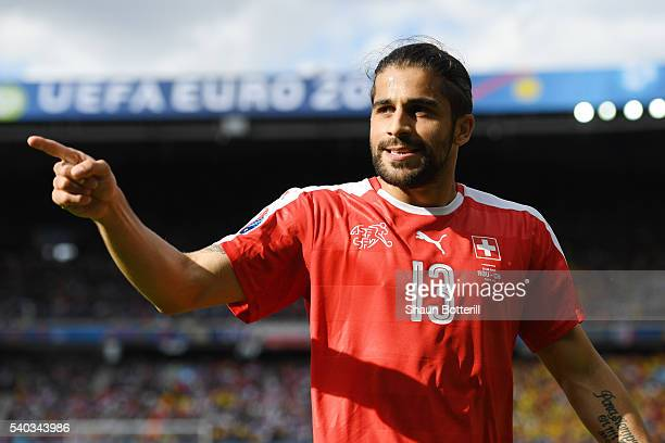 Ricardo Rodriguez of Switzerland looks on during the UEFA EURO 2016 Group A match between Romania and Switzerland at Parc des Princes on June 15 2016...