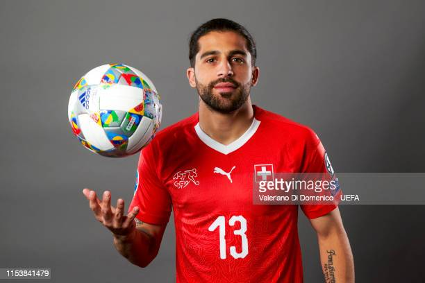 Ricardo Rodriguez of Switzerland poses for a portrait during the UEFA Nations League Finals Portrait Shoot on June 02 2019 in Zurich Switzerland