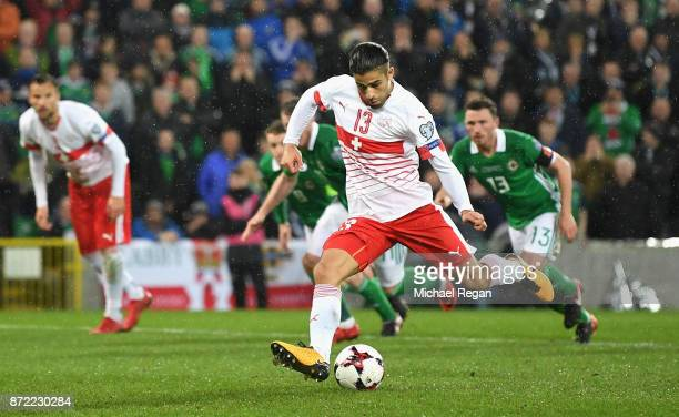 Ricardo Rodriguez of Switzerland scores his sides first goal during the FIFA 2018 World Cup Qualifier PlayOff First Leg between Northern Ireland and...