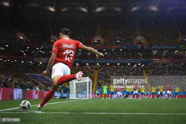 Ricardo Rodriguez of Switzerland takes a corner during the 2018 FIFA World Cup Russia group E match between Brazil and Switzerland at Rostov Arena on...