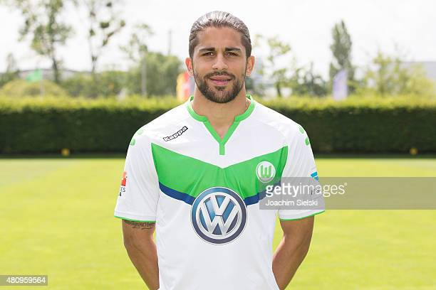 Ricardo Rodriguez poses during the team presentation of VfL Wolfsburg at Volkswagen Arena on July 16 2015 in Wolfsburg Germany