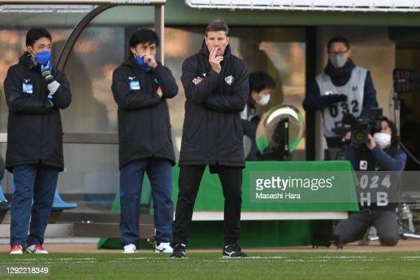Ricardo Rodriguez,coach of Tokushima Vortis looks on during the J.League Meiji Yasuda J2 match between Avispa Fukuoka and Tokushima Vortis at the...