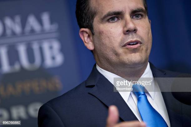 Ricardo Rossello governor of Puerto Rico speaks during a news conference at the National Press Club in Washington DC US on Thursday June 15 2017...