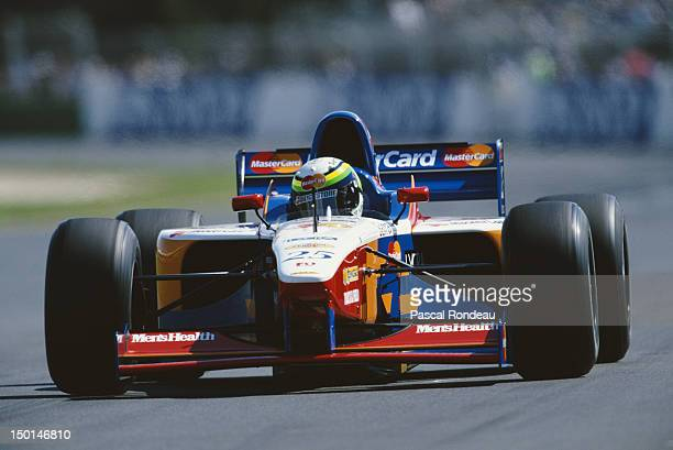 Ricardo Rosset of Brazil drives the MasterCard Lola F1 Team Lola T97/30 Ford V8 during practice the Qantas Australian Grand Prix on 8th March 1997 at...