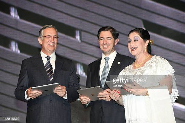 Ricardo Salinas Pliego Dionisio Perez Jacome and Angelica Aragon pose for a picture at the inauguration of the new forums Azteca Novelas on June 5...
