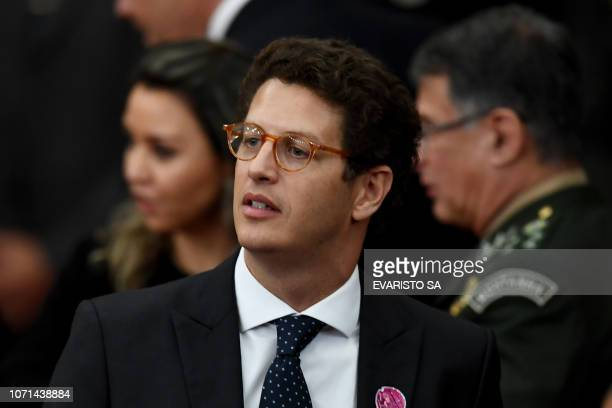 Ricardo Salles who was appointed by Brazilian Presidentelect Jair Bolsonaro as Environment Minister attends a ceremony in which Bolsonaro received a...