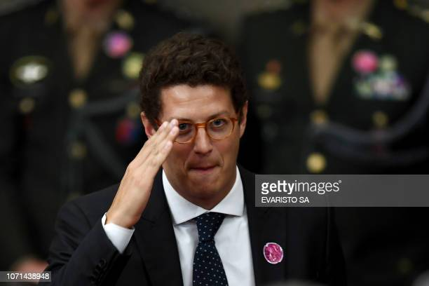 Ricardo Salles who was appointed by Brazilian Presidentelect Jair Bolsonaro as Environment Minister gestures as he attends a ceremony in which...