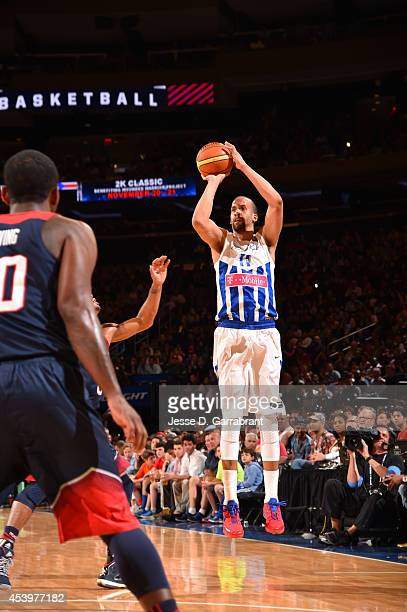 Ricardo Sanchez of the Puerto Rico National Team shoots against the USA Basketball Men's National Team on August 22 2014 at Madison Square Garden in...