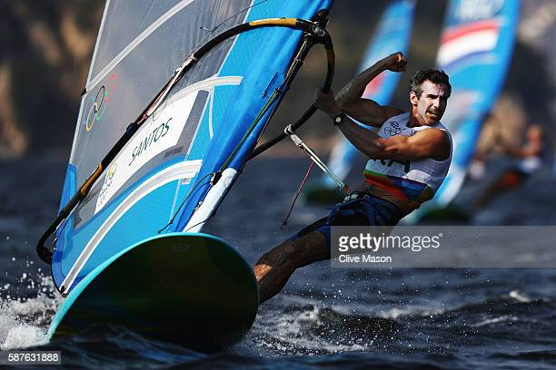 Ricardo Santos of Brazil competes in the Men's RSX race on Day 4 of the Rio 2016 Olympic Games at the Marina da Gloria on August 9 2016 in Rio de...