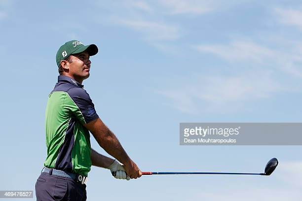 Ricardo Santos of Portugal hits his tee shot on the 16th hole during Day 3 of the Africa Open at East London Golf Club on February 15 2014 in East...