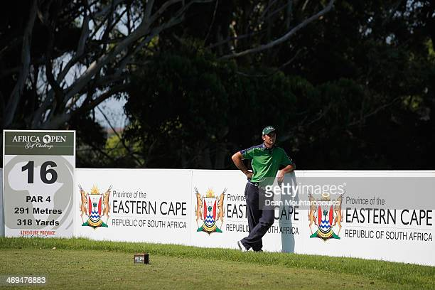 Ricardo Santos of Portugal looks on before he hits his tee shot on the 16th hole during Day 3 of the Africa Open at East London Golf Club on February...