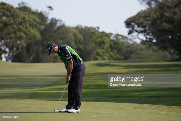 Ricardo Santos of Portugal putts on the 15th green during Day 3 of the Africa Open at East London Golf Club on February 15 2014 in East London South...