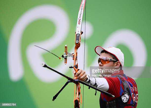 Ricardo Soto of Chile competes in the Men's Individual round of 8 Elimination Round on Day 7 of the Rio 2016 Olympic Games at the Sambodromo on...