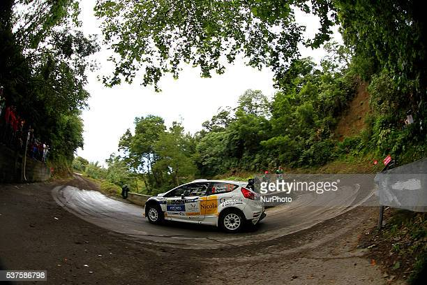 Ricardo Teodosio and Jose Teixeira in Ford Fiesta R5 during the shakedow of the FIA ERC Azores Airlines Rallye 2016 in Ponta Delgada Azores Portugal...
