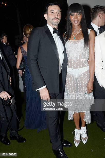 Ricardo Tisci and Naomi Campbell attends at 2016 amfAR Inspiration Gala Sao Paulo on April 15 2016 in Sao Paulo Brazil