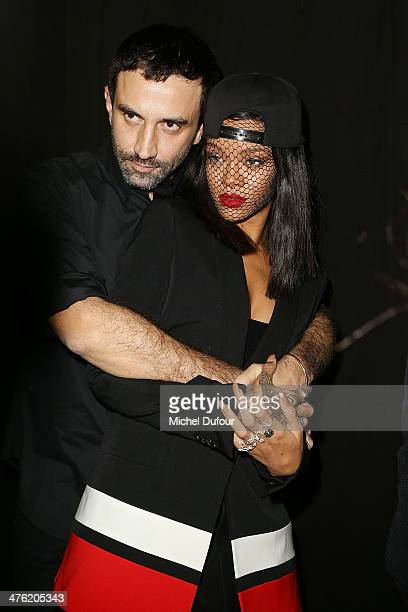 Ricardo Tisci and Rihanna pose after the Givenchy show as part of the Paris Fashion Week Womenswear Fall/Winter 20142015 on March 2 2014 in Paris...
