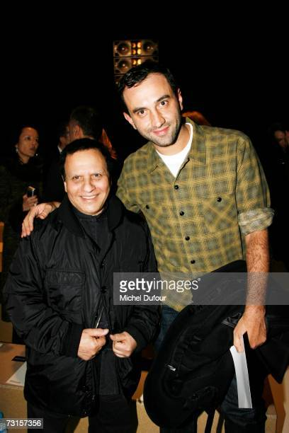 Ricardo Tisci with Azzedine Alaia attends the Dior Men Fashion Show Autumn Winter 07 08 on January 30 2007 in Paris France