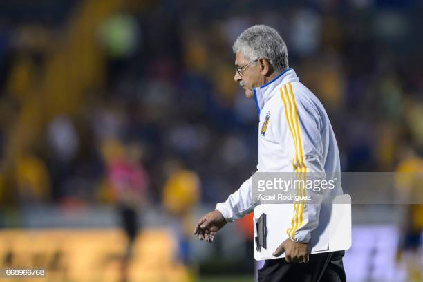 Ricardo 'Tuca' Ferretti coach of Tigres gets in the field on during the 14th round match between Tigres UANL and Pumas UNAM as part of the Torneo...