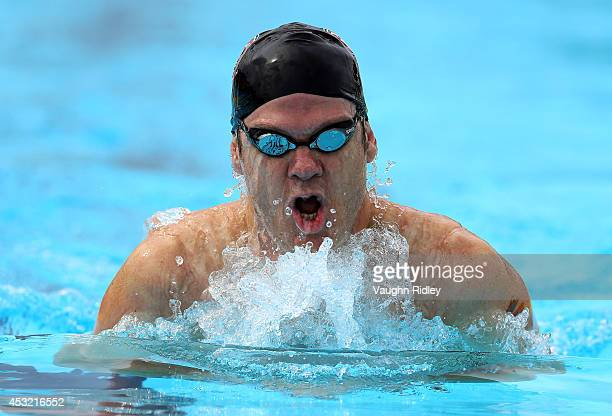 Ricardo Valdivia of the US competes in the Men's 400m Individual Medley at Parc JeanDrapeau during the 15th FINA World Masters Championships on...
